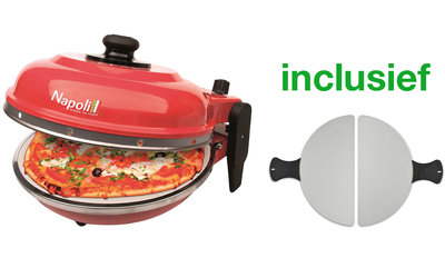 Optima Napoli Pizza Express steenoven rood incl. metalen pizza spatels